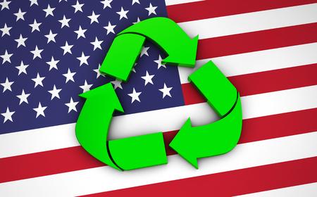 reciclar: Reciclaje de símbolo verde, icono y el logotipo internacional de los Estados Unidos de América en el pabellón. Foto de archivo