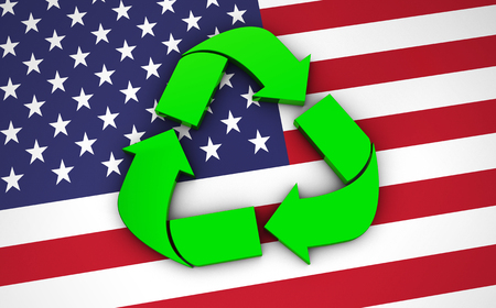 international recycle symbol: Recycling green symbol, icon and international logo on United States Of America flag.