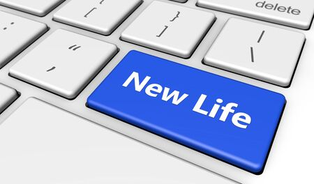 key to success: New lifestyle concept with new life word and sign printed on a blue computer button 3d render image.