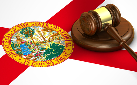 floridian: Florida US state law, code, legal system and justice concept with a 3d render of a gavel on the Floridan flag on background. Stock Photo