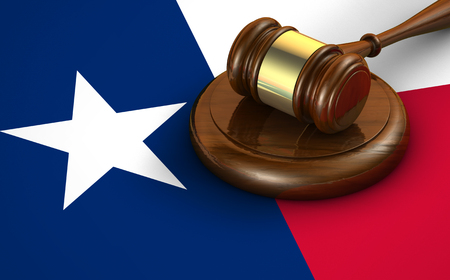 us constitution: Texas us state law, code, legal system and justice concept with a 3d render of a gavel on the Texan flag on background. Stock Photo