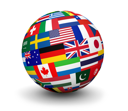 international flags: International business, travel services and global management concept with a globe and international flags of the world 3d illustration on white background. Stock Photo