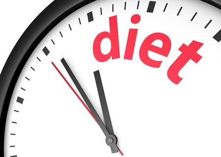 to the diet: Dieting time healthy lifestyle conceptual image with a wall clock and diet text printed in red.