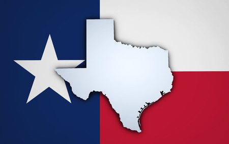 texas state: Shape 3d of US Texas state map and Texan flag on background. Stock Photo