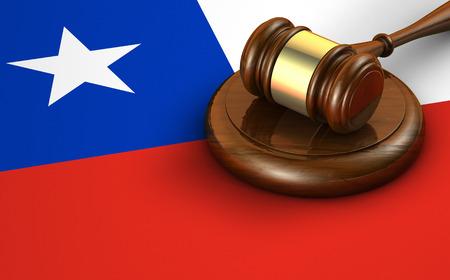 bandera chilena: leyes de Chile, el sistema legal y el concepto de la justicia con una representación 3D de un martillo y la bandera chilena en el fondo.