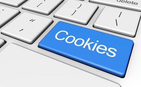 Internet browser en webconcept met cookies teken en woord op een blauwe computer toets.