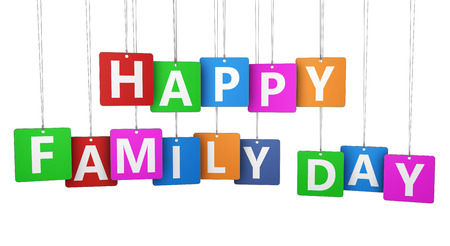 happy family: Happy family day sign and letters on colorful paper tags isolated on white background.