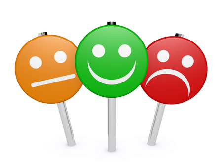 Zakelijke kwaliteit van de dienstverlening feedback van klanten, waardering en onderzoek met lachende gezicht emoticon symbool en pictogram op teken post op een witte achtergrond. Stockfoto