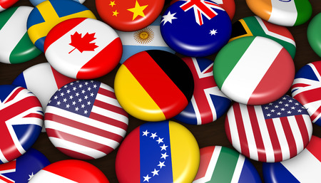 international flags: International world flags on scattered buttons badges 3d illustration.