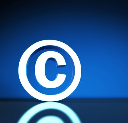 copyright symbol: Intellectual property and digital copyright laws conceptual illustration with copyright symbol and icon on blue background.