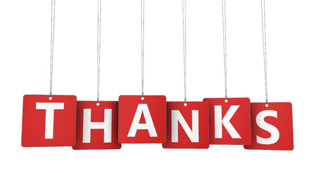 thankfulness: Thanks sign and letters on hanged red paper tags marketing and customers thank you giving concept 3d illustration. Stock Photo