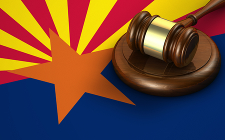 us constitution: Arizona US state law, code, legal system and justice concept with a 3d render of a gavel on the Arizonan flag on background.