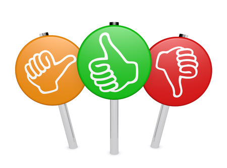 Klant zaken feedback, beoordeling en overzien positieve en negatieve bord geplaatst met een duim omhoog en omlaag pictogram op een witte achtergrond.