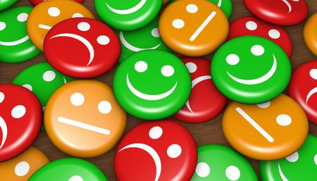 Feedback, valutazione e sondaggio dei clienti del servizio di qualità aziendale con il simbolo e l'icona dell'emoticon faccia felice e non sorridente sul pulsante badge.
