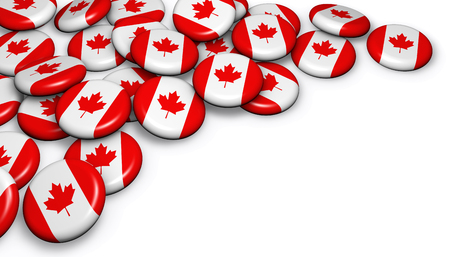 Canada flag on badges background image for Canadian national day events, holiday, memorial and celebration with copyspace.