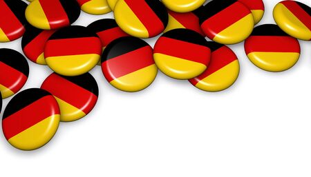 copyspace: Germany flag on badges background image for German national day events, holiday, memorial and celebration with copyspace. Stock Photo