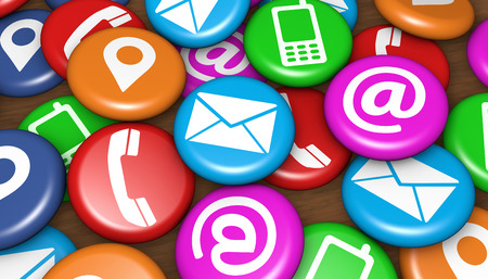 Website and Internet concept with contact us icons and phone, location and email symbol on colorful scattered badges.