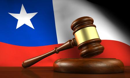 bandera de chile: Chile ley, el sistema legal y el concepto de la justicia con un 3d de un martillo sobre un escritorio de madera y la bandera chilena en el fondo.