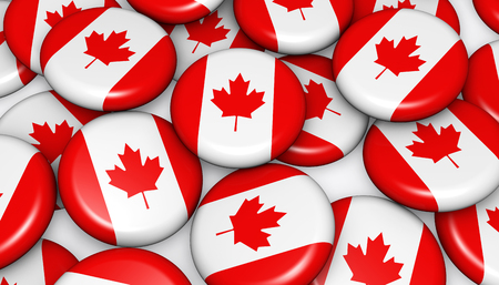 canadian flag: Canada flag on badges background image for Canadian national day events, holiday, memorial and celebration. Stock Photo