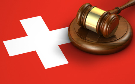 legal icon: Switzerland law, code, legal system and justice concept with a 3d render of a gavel on the Swiss flag on background.