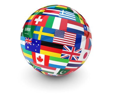 Flaggen der Welt auf einem Globus für das internationale Geschäft, Schule, Reisedienste und globales Management-Konzept 3D-Darstellung auf weißem Hintergrund.