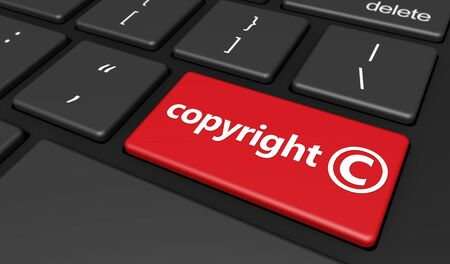 license: Intellectual property and digital copyright laws conceptual illustration with copyright symbol and icon on a red computer keyboard button. Stock Photo