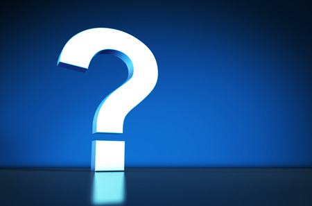 faq's: Question Mark symbol and icon on blue background with reflection.
