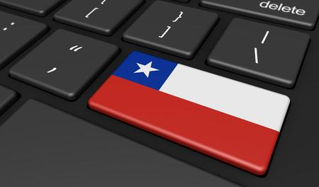 bandera chilena: Chile digitalización y el uso de las tecnologías digitales concepto con la bandera chilena en una tecla de la computadora.