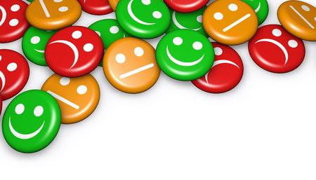 la calidad del negocio de captación de servicio al cliente, la clasificación y la encuesta con feliz y no la cara sonriente símbolo emoticon y el icono en el botón insignias con copyspace.