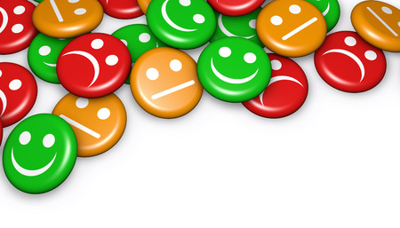 Business quality service customer feedback, rating and survey with happy and not smiling face emoticon symbol and icon on badges button with copyspace. Archivio Fotografico