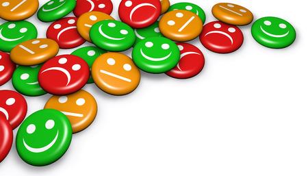 Zakelijke kwaliteit van de dienstverlening feedback van klanten, waardering en onderzoek met gelukkig en niet lachend gezicht emoticon symbool en pictogram op badges knop met copyspace.