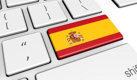 España digitalización y el uso de tecnologías digitales con la bandera española en una tecla de la computadora.