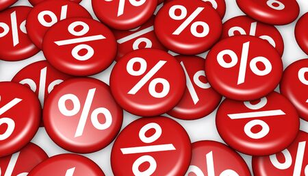 reduction: Shopping sale, reduction, discount and promo concept with red badges and percent symbol Stock Photo