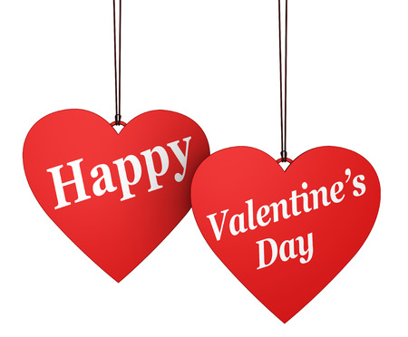 heart month: Happy Valentines Day sign and text on two hanged red heart shaped paper labels isolated on white background.
