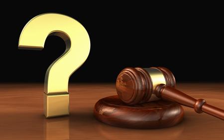 法律および法的質問概念 3 d イラストレーション黄金疑問符記号と木製裁判官小槌。