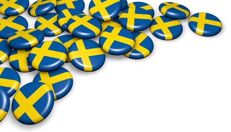 bandera suecia: Sweden flag on badges background image for Swedish national day events, holiday, memorial and celebration with copyspace. Foto de archivo