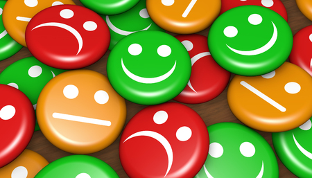 Business quality service customer feedback, rating and survey with happy and not smiling face emoticon symbol and icon on badges button.