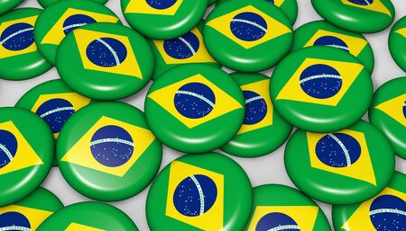 proclamation: Brazil flag on badges background image for Brazilian national day events, holiday, memorial and celebration.