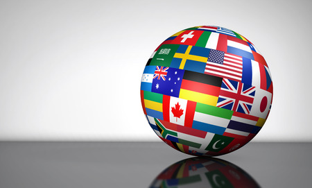 world trade: Flags of the world on a globe for international business, school, travel services and global management concept 3d illustration on white background. Stock Photo