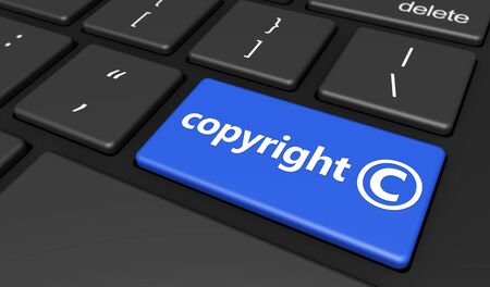 law symbol: Intellectual property and digital copyright laws conceptual illustration with copyright symbol and icon on a blue computer keyboard button.