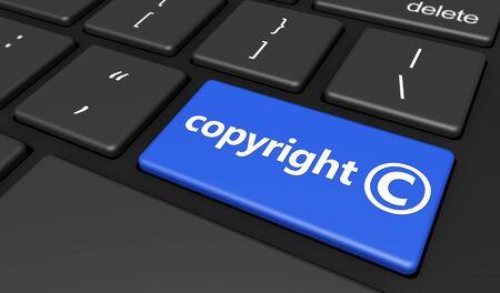 symbole: lois sur la propriété intellectuelle et le droit d'auteur numérique illustration conceptuelle avec le symbole du droit d'auteur et icône sur un bouton bleu de clavier d'ordinateur. Banque d'images
