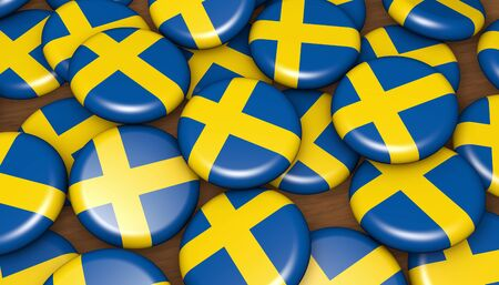 unification: Sweden flag on badges background image for Swedish national day events, holiday, memorial and celebration.