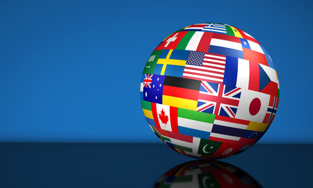 flags of the world: Flags of the world on a globe for international business, school, travel services and global management concept 3d illustration on blue background. Stock Photo