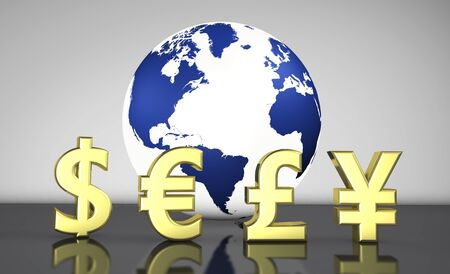 International Currencies Symbols And A Globe With The World Map