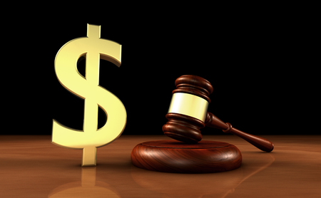 fee: Law, lawyer and money with dollar icon and symbol and a judge gavel on a wooden desktop cost of justice concept.