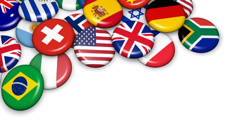 world trade: International world flags on scattered buttons badges 3d illustration on white background with copyspace.