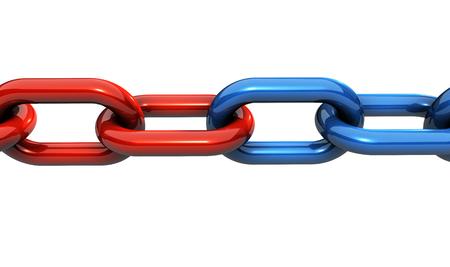 Geschäftsteamwork, Zusammenarbeit und Partnerschaft Konzept mit einer massiven Stahlkette und Ringe in zwei verschiedenen Farben-Darstellung auf weißem Hintergrund.