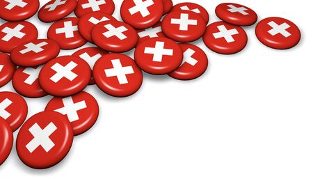 swiss insignia: Switzerland flag on badges and white background image for Swiss national day events, holiday, memorial and celebration with copyspace. Stock Photo