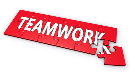 teamworking: Business team work, collaboration and partnership concept with teamwork word on a red puzzle illustration isolated on white background.