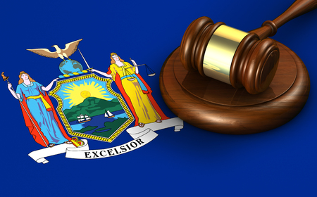 new rules: New York US state law, code, legal system and justice concept with a 3d render of a gavel on the New Yorker flag on background. Stock Photo